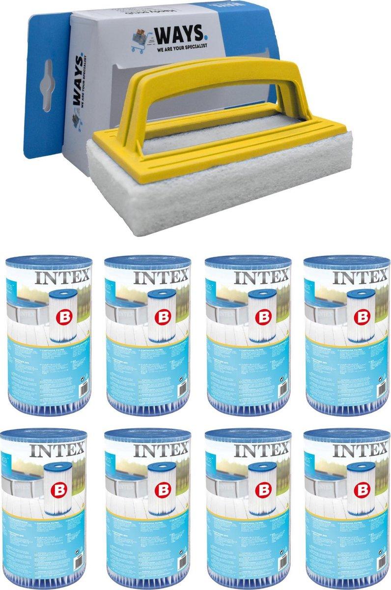 Intex - Filter type B - 8 stuks - Geschikt voor filterpomp 28634GS & WAYS scrubborstel