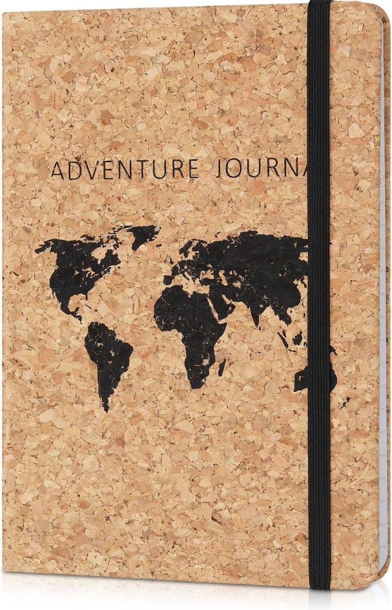 Navaris notitieboek van kurk met lijntjes - Notebook met elastieken sluiting, binnenvak en bladwijzer - 18 x 13 cm - 100 bladzijden - Wereldkaart