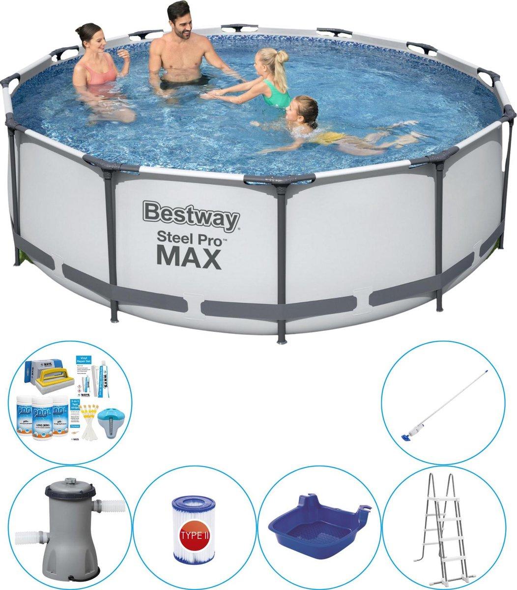 Bestway Steel Pro MAX Rond 366x100 cm - 7-delig - Zwembad Combinatie Deal