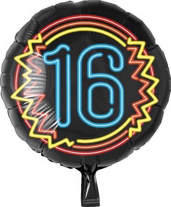Helium Ballon 16 Jaar Neon 46cm leeg