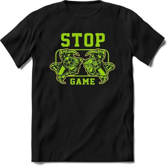 Stop and game | Gaming kado T-Shirt heren - dames | Groen-Geel | Perfect game pc cadeau shirt | Grappige console spreuken - zinnen - teksten
