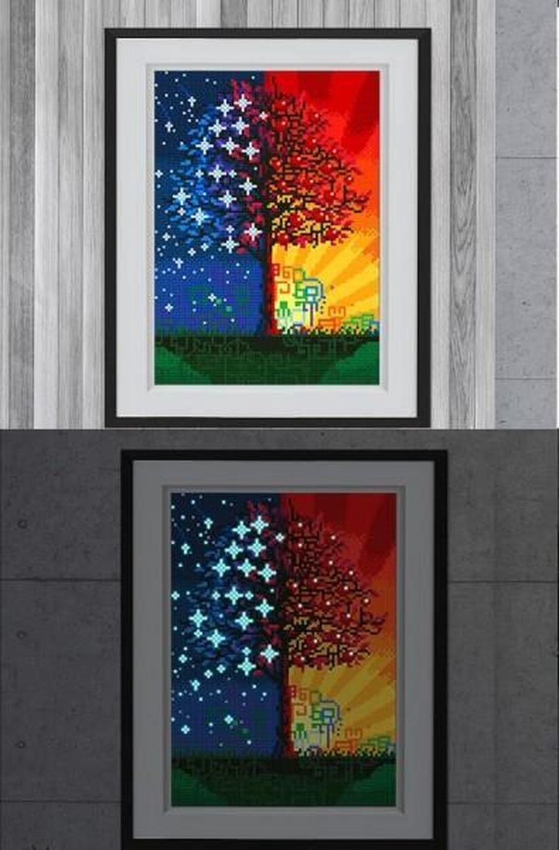 Glow In The Dark Diamond Painting Volwassenen/Kinderen - Ronde Steentjes - Volledig Pakket - Hobby - Bloemen en planten - Boom in dag en nacht 35x25cm