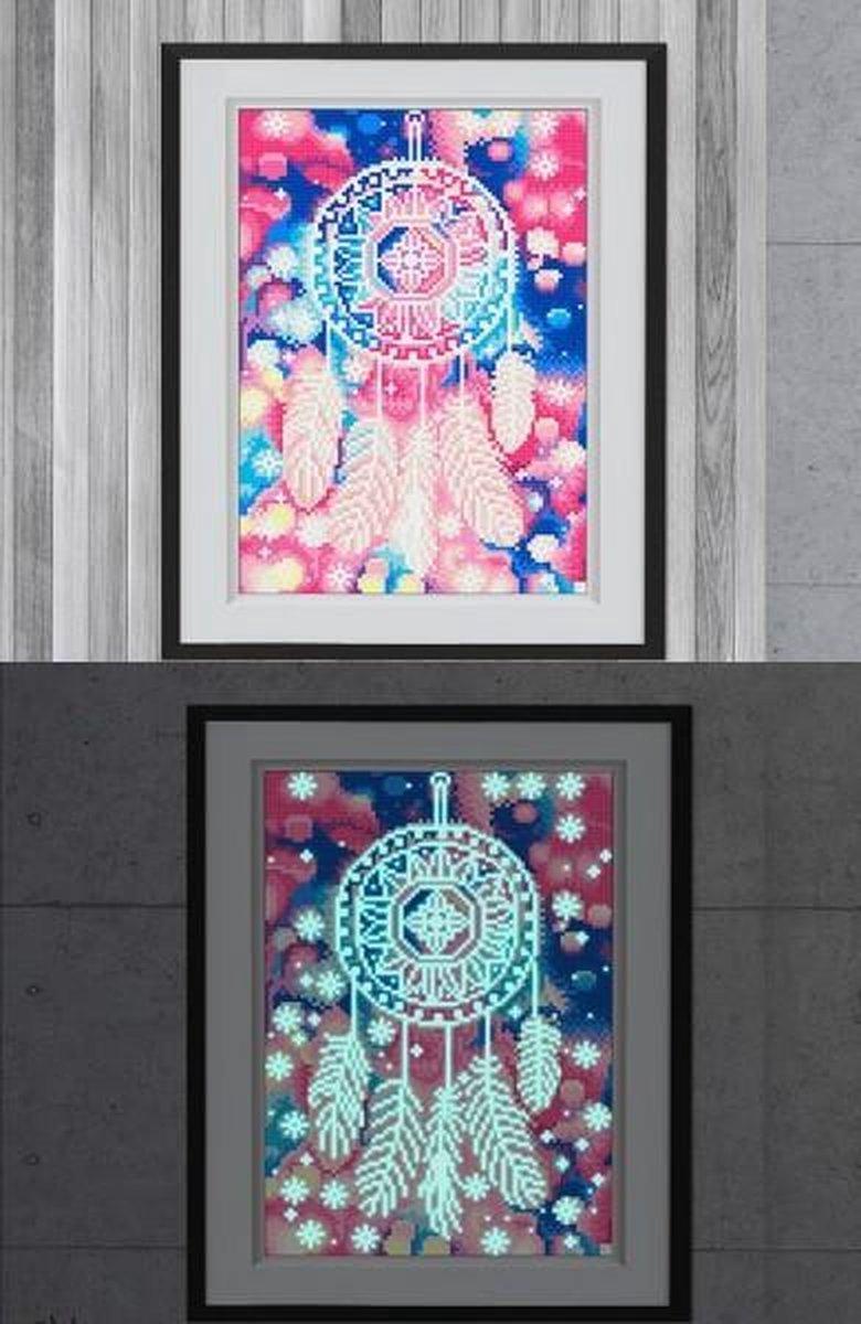 Glow In The Dark Diamond Painting Volwassenen/Kinderen - Ronde Steentjes - Volledig Pakket - Hobby - Abstract - Kleurrijke dromenvanger 35x25cm