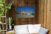Tuinposter Oude stad van Rhodos - Helder blauwe lucht boven de haven van de Oude stad van Rhodos Tuinposter 90x60 cm - Tuindoek/Buitencanvas/Schilderijen voor buiten (tuin decoratie)