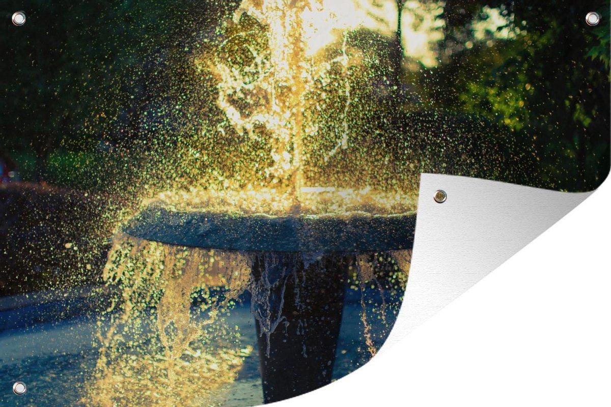 Tuindecoratie Fontein in de zomer - 60x40 cm - Tuinposter