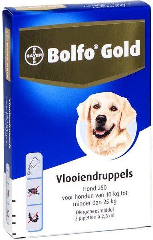 Bolfo Gold 250 Anti vlooienmiddel - Hond - 10 Tot 25 kg - 2 pipetten