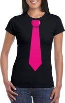 Zwart t-shirt met roze stropdas dames 2XL