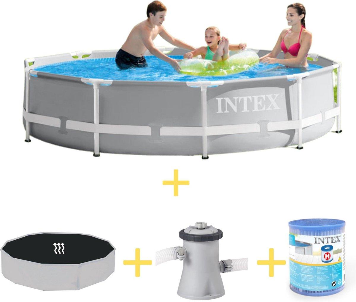 Intex Zwembad - Prism Frame - 305 x 76 cm - Inclusief Solarzeil, Filterpomp & Filter