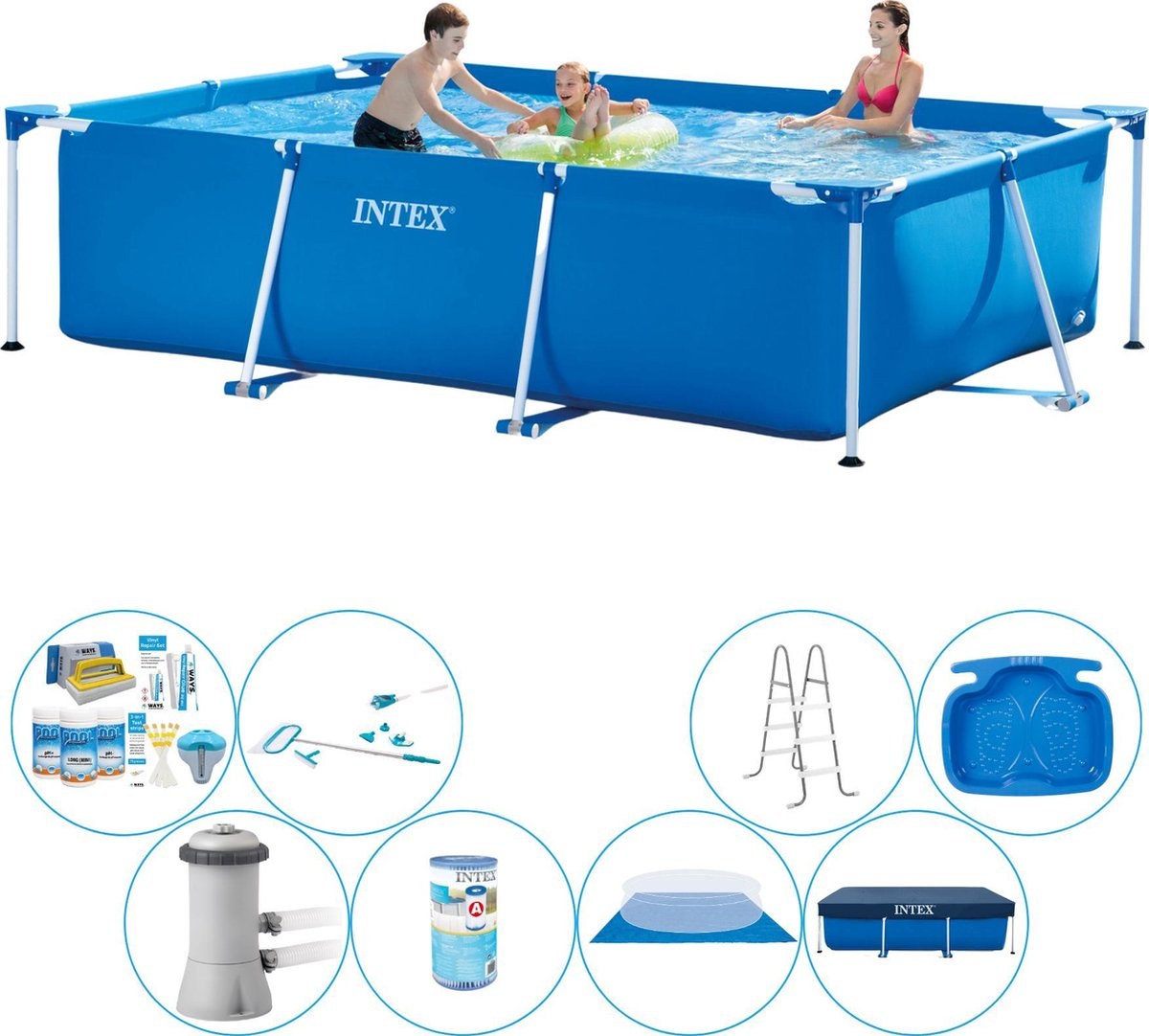 Intex Frame Pool Rechthoekig 300x200x75 cm - Alles in 1 Zwembad Pakket