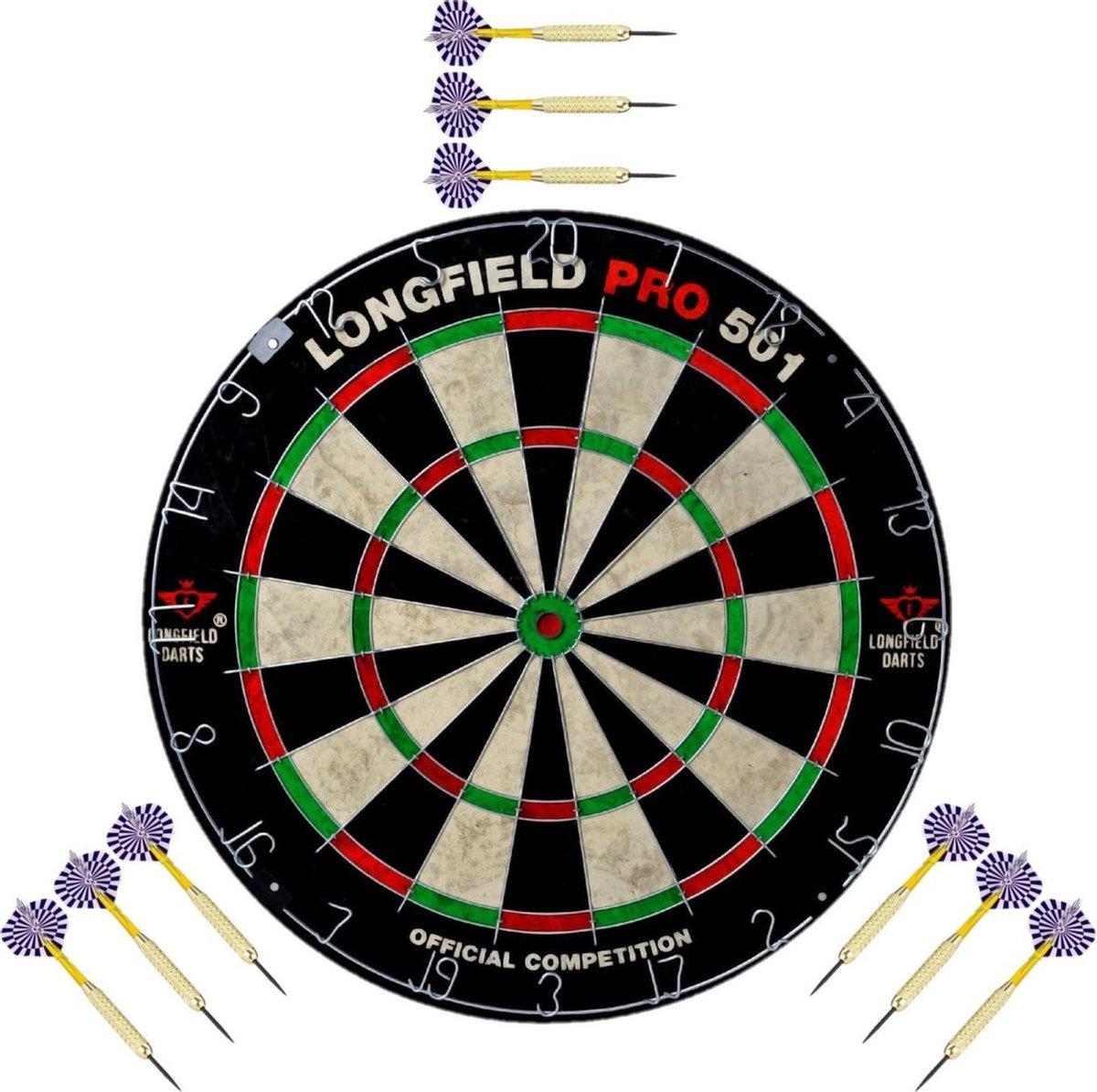 Dartbord set compleet van diameter 45.5 cm met 9x dartpijlen van 23 gram - Longfield professional - Darten