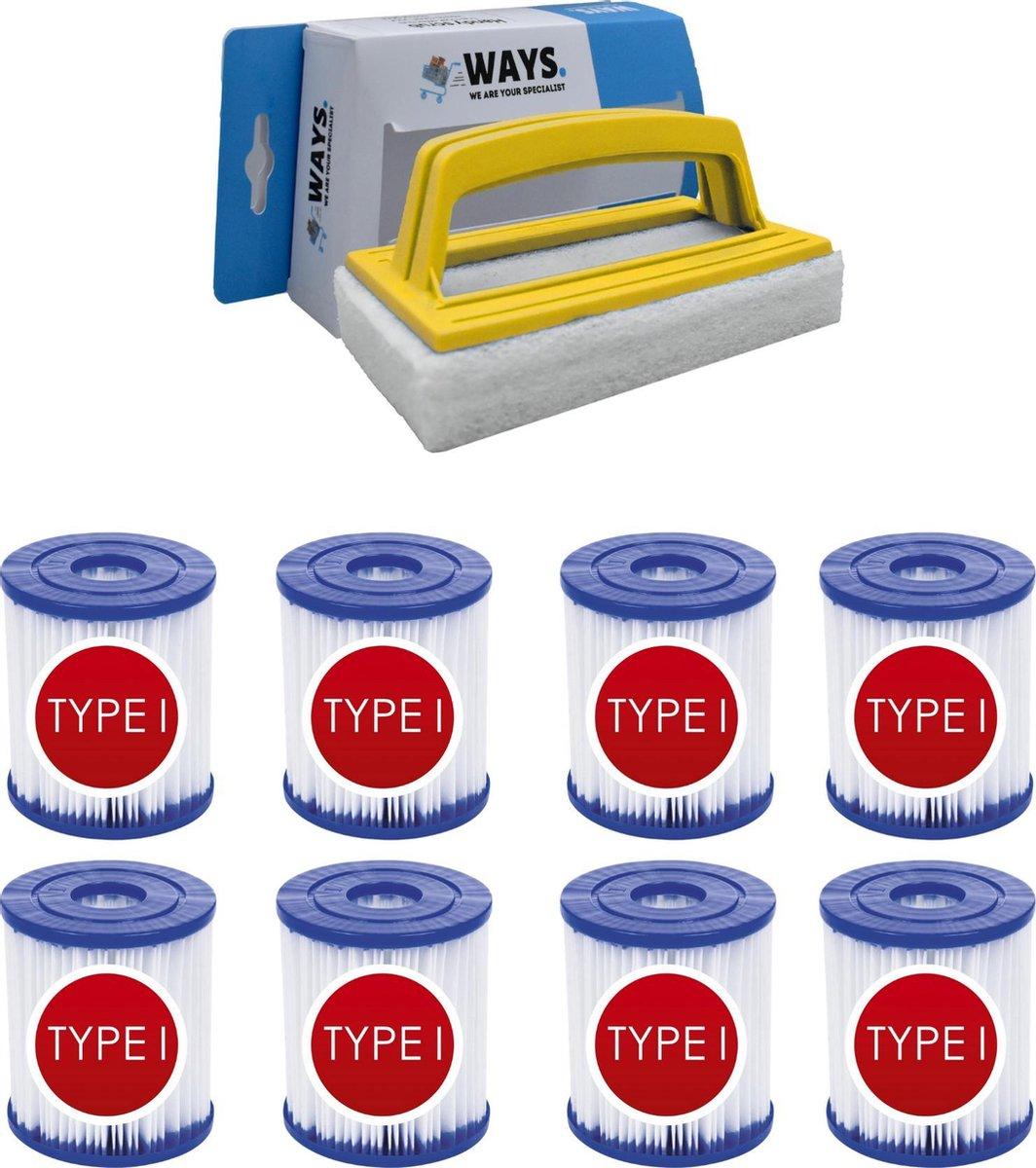 Bestway - Type I filters geschikt voor filterpomp 58381 - 8 stuks & WAYS scrubborstel