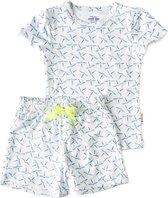 Little Label   meisjes   2-delige zomerpyjama - model shortama   wit, blauw, vlindertjes   maat 158-164   bio-katoen