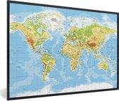 Poster met lijst Wereldkaart - Staatkundig - Blauw - 30x20 cm