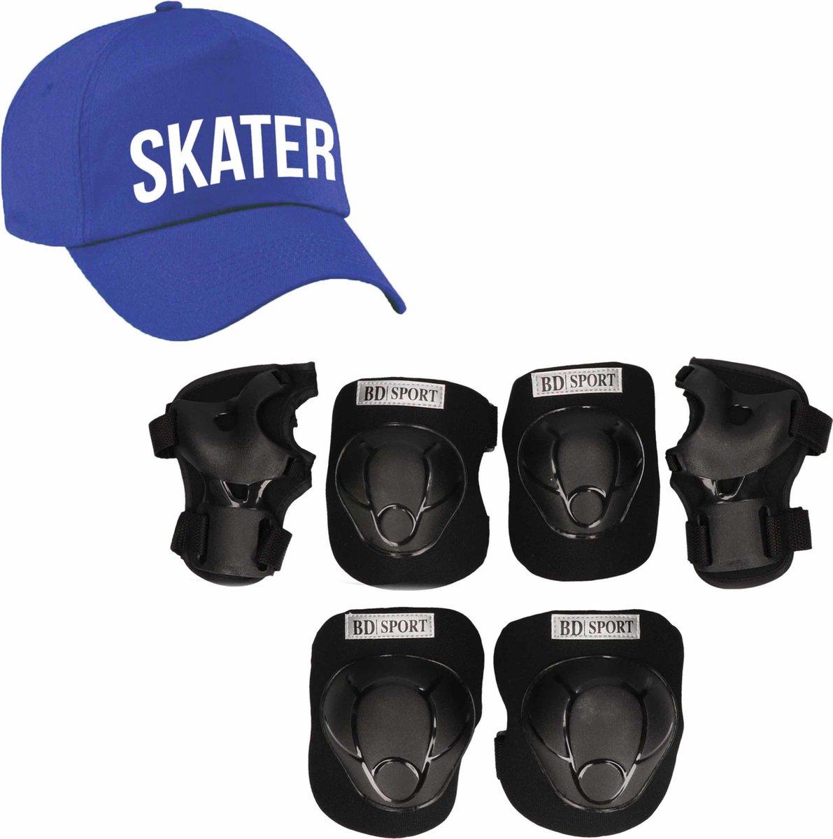 Set van valbescherming voor kinderen maat M / 6 tot 8 jaar met een stoere SKATER pet blauw
