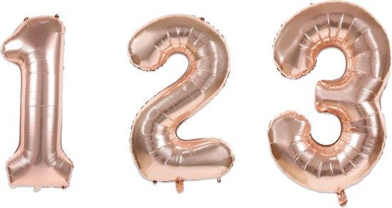PARTYDECO - Kleine roségouden aluminium cijfer ballon - Decoratie > Ballonnen