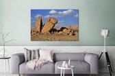 Granieten rotsen in het Nationaal park Ahaggar Canvas 180x120 cm - Foto print op Canvas schilderij (Wanddecoratie woonkamer / slaapkamer) XXL / Groot formaat!
