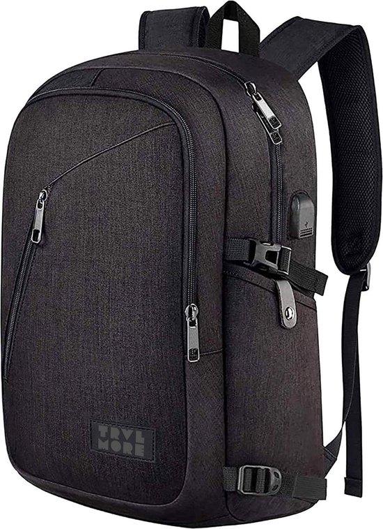 TravelMore Rugzak Slim Fit - Schooltas - 15,6 inch Laptop Rugtas - Dames/Heren - 25L - Waterafstotend - Zwart