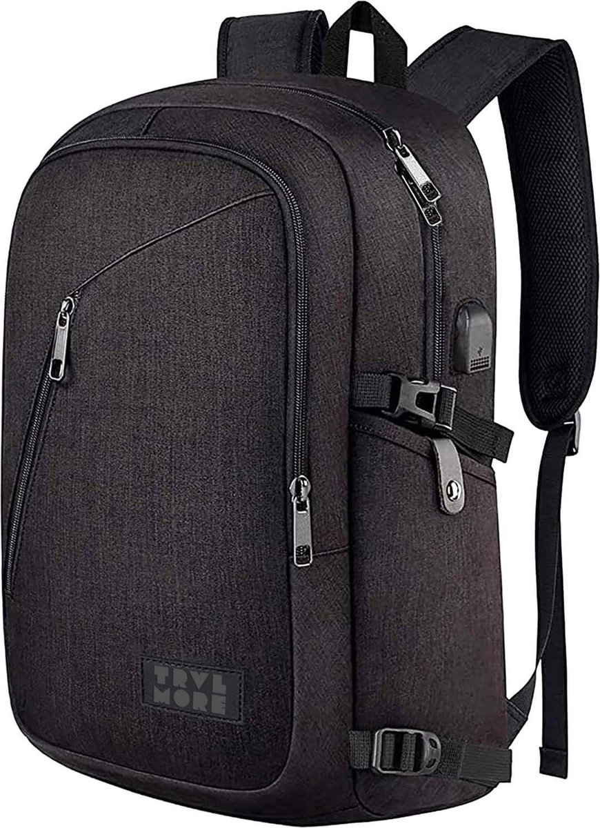 TravelMore Slim Fit Backpack - 15,6 inch Laptop Rugzak - Dames/Heren - 25L - Waterafstotend - Zwart