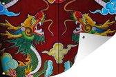 Tuinposter Chinese mythologie - Deur met draken 60x40 cm - Tuindoek/Buitencanvas/Schilderijen voor buiten (tuin decoratie)