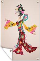 Tuinposter Chinese mythologie - Schaduw pop 40x60 cm - Tuindoek/Buitencanvas/Schilderijen voor buiten (tuin decoratie)