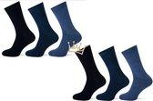 Teckel katoenen sokken - Naadloos - Dames - Heren - 6 paar - Blauw mix - Maat 37-41