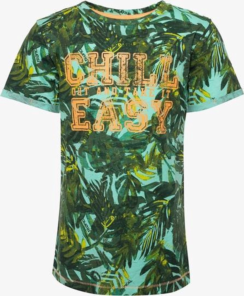 TwoDay jongens T-shirt met Hawai print - Groen - Maat 158