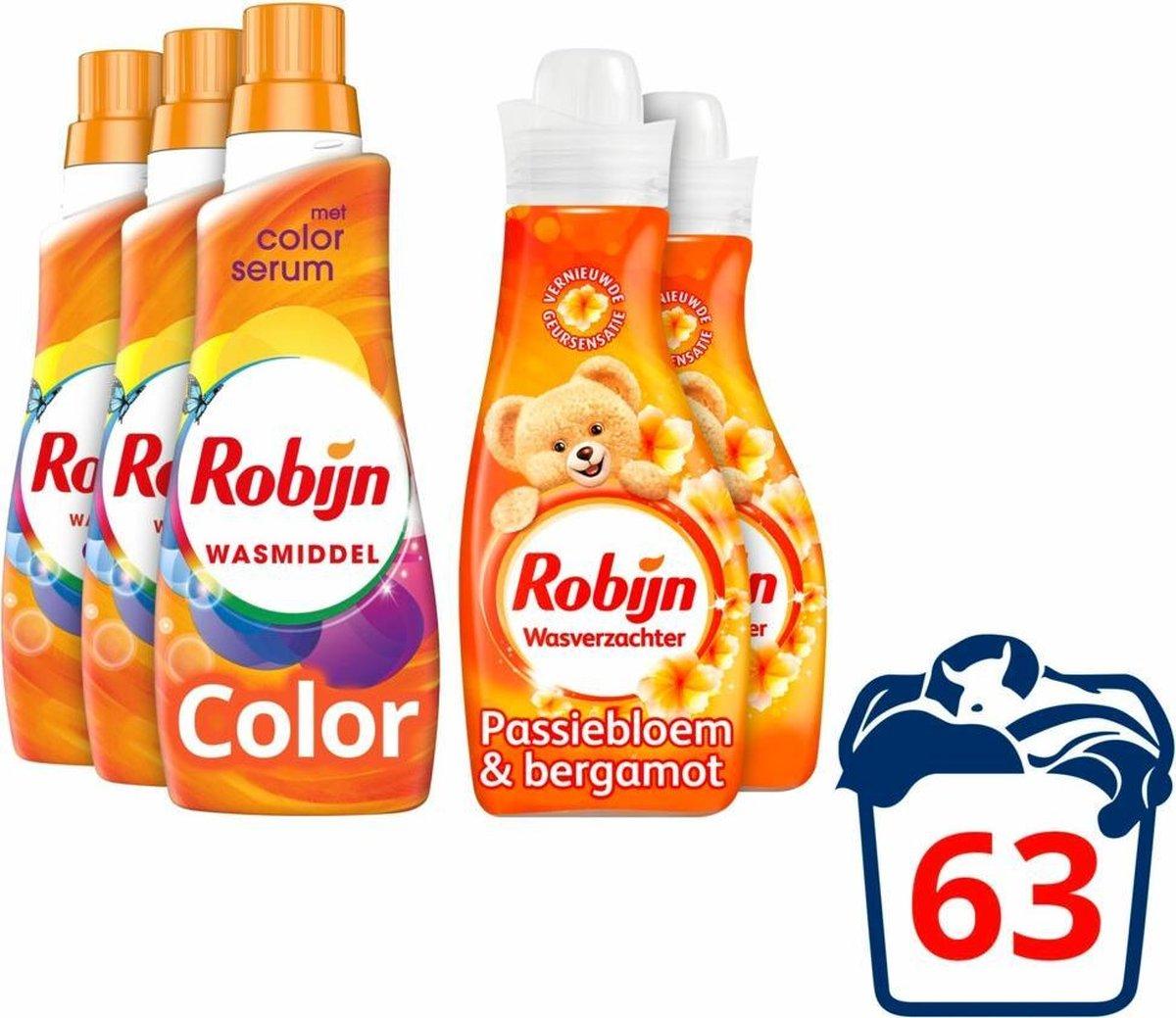 Robijn Color Wasmiddel en Wasverzachter - 63 wasbeurten - Voordeelverpakking