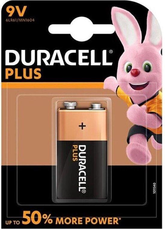 Duracell Plus alkaline 9V batterijen, verpakking van 1