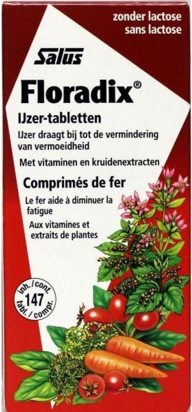 Salus Floradix IJzer-tabletten Bij vermoeidheid Voedingssupplement met ijzer 147 tabletten
