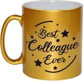 Best colleague ever koffiemok / theebeker - 330 ml - goudkleurig - carriere switch / VUT / pensioen - bedankt cadeau collega / teamgenoot
