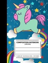 Composition Notebook Unicorn: Zodiac Constellation Blue Sky Color Cover 7.44''x9.69'' 110 Pages Extra Wide Ruled Paper, Elementary School Supplies Stu