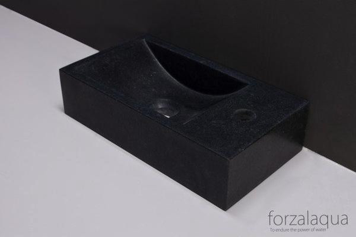 Forzalaqua Venetia fontein 40x22x10cm 1 kraangat rechts rechthoek graniet gezoet antraciet