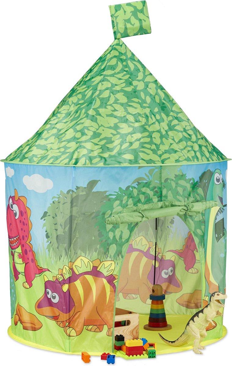 relaxdays speeltent dinosaurus - kindertent dino - kinderspeeltent klein kinderhuis groen