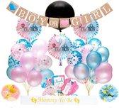 Gender Reveal Versiering Pakket XL (64 Stuks) - Gender Reveal - Gender Reveal Ballon - Baby Shower Party Decoratie