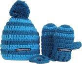 Poederbaasje Baby Muts & Handschoenen - Blauw - 6-36 mnd