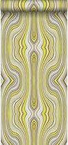 Origin behang grafische lijnen okergeel - 347225 - 53 x 1005 cm