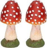 2x Decoratie beeldjes van een paddestoel polyresin 13 cm - Herfst decoratie beeldjes voor binnen/buiten