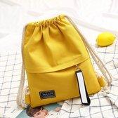 Mode canvas koord rugzak draagbare casual schouder knapsack (geel)