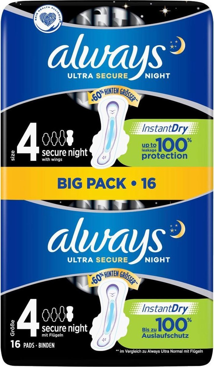 Always Ultra Night Ultra Secure Night Maandverband 16 stuk(s)