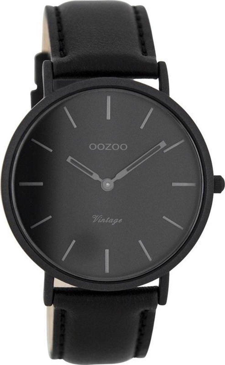 OOZOO Vintage C7742 - Horloge - Leer - Zwart - 40 mm - OOZOO
