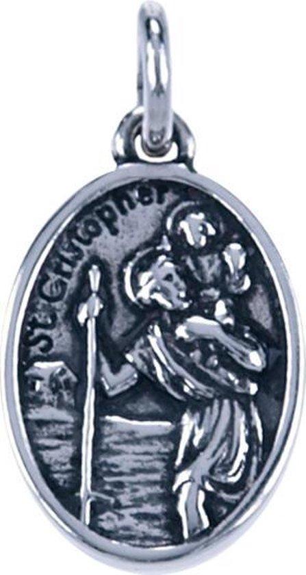 Zilveren Heilige Christoffel ketting hanger - ovaal 2