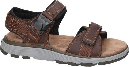 Clarks Un Trek Part Heren Sandalen - Dark Tan Lea - Maat 44.5