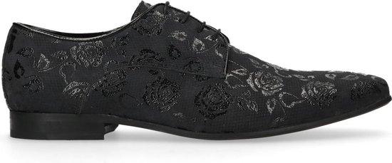 Sacha - Heren - Zwarte veterschoen met bloemenprint - Maat 45