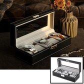 Decopatent® Luxe horlogebox voor 5 horloges - Horloge box voor Dames en Heren horloges - Horlogedoos - Horlogekist - Zwart / Grijs