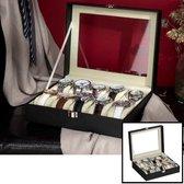 Decopatent® Luxe horlogebox voor 10 horloges - Horloge box voor Dames en Heren horloges - Horlogedoos - Horlogekist Zwart / Beige