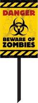 AMSCAN - Zombie waarschuwingsbord Halloween - Decoratie > Muur-, deur- en raamdecoratie - Rood