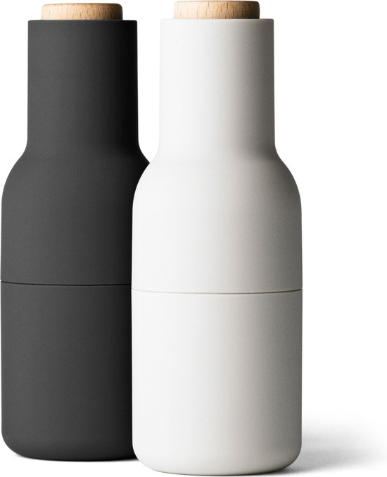 Menu Set Peper- en Zoutmolen 'Fles' 20 cm - Zwart/Lichtgrijs