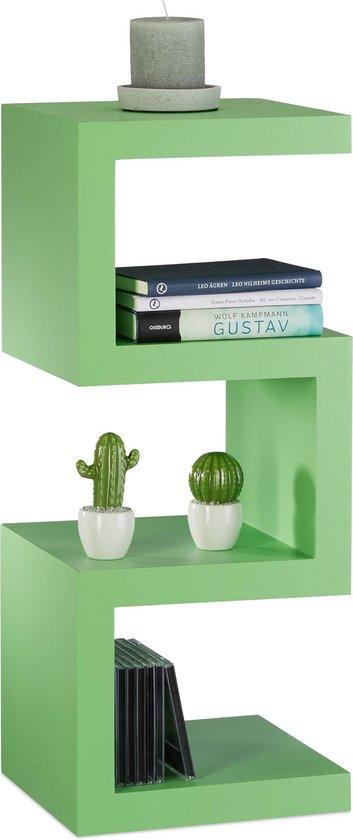 relaxdays retro kastje - kleurrijk zigzag design - boekenkast - smalle kast - open ontwerp groen