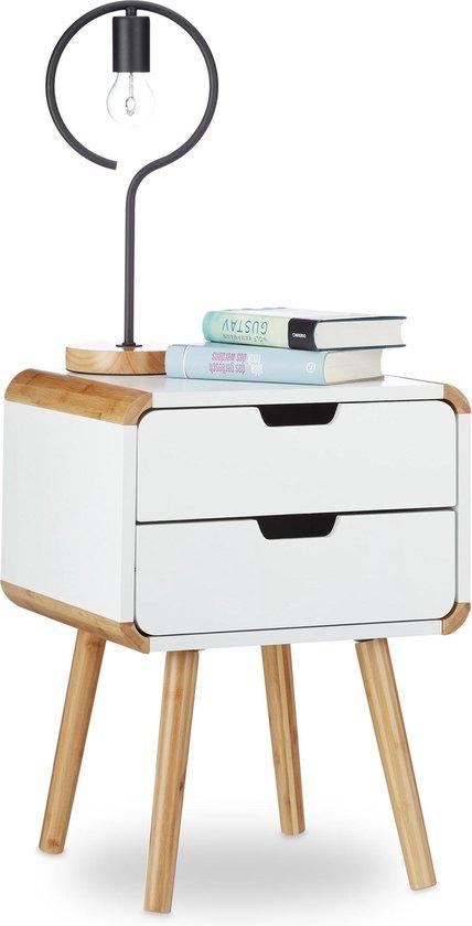 relaxdays Nachtkastje - 2 lades - Scandinavisch design - hout - wit