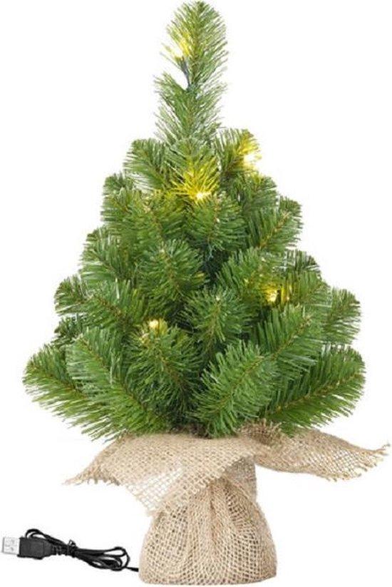 Bureau USB miniboompje/kerstboompje met verlichting 30 cm - Kleine kerstbomen/kunstbomen voor op kantoor
